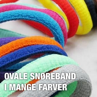 Ovale snørebånd i mange farver