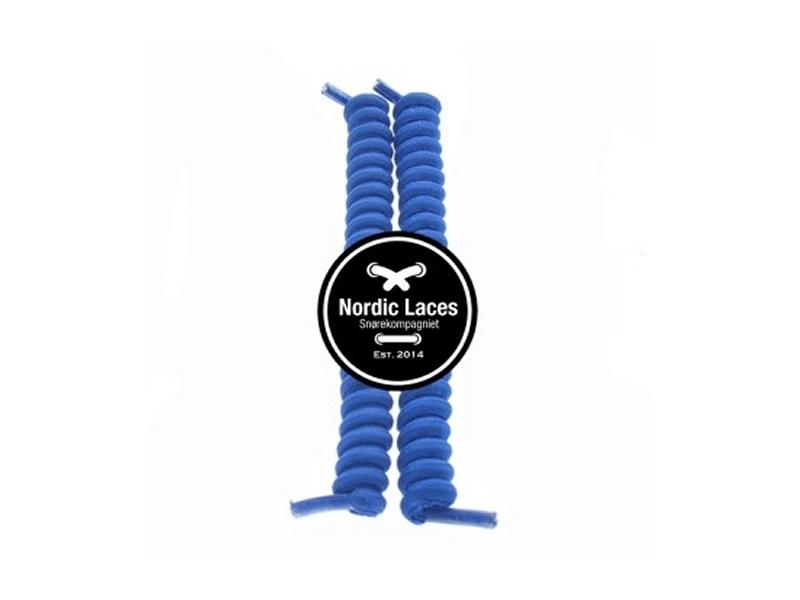 Blå spiral snørebånd 12cm (100-105cm) elastik