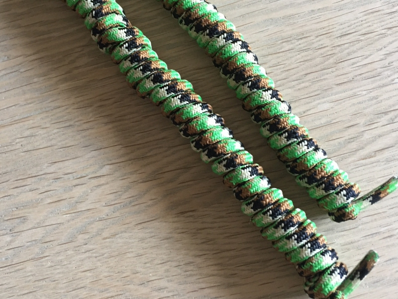 Camouflage/army spiral snørebånd 14cm (110-115cm) elastik