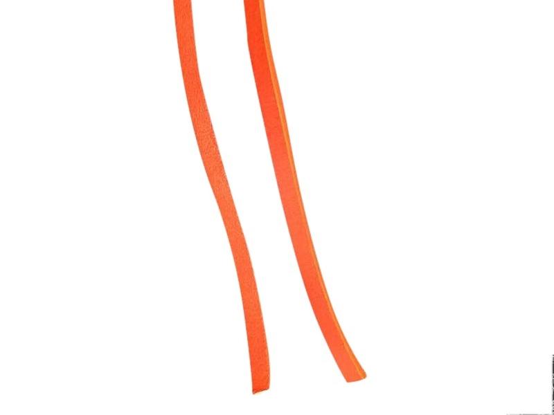 Firkantet læder snørebånd 75cm Orange