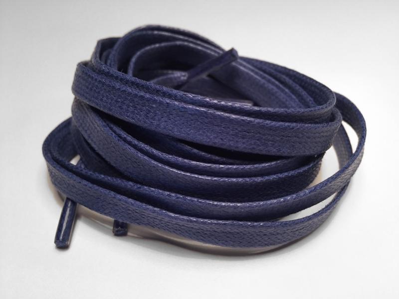 Flade 7mm voksbehandlede snørebånd Blå