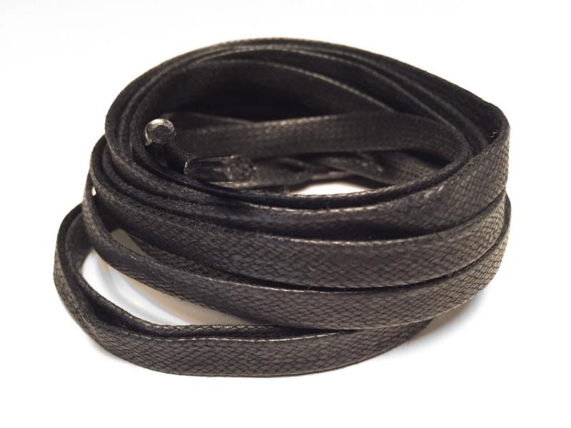 Flade 7mm voksbehandlede snørebånd sort