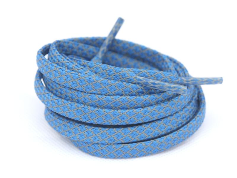 Flade Refleks Snørebånd Blå 8mm mønster