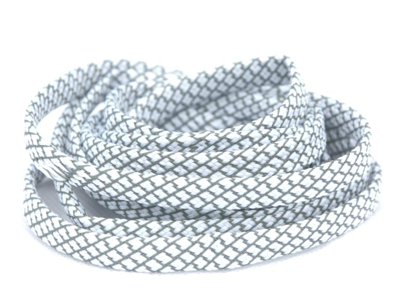 Flade Refleks Snørebånd Hvid 8mm mønster