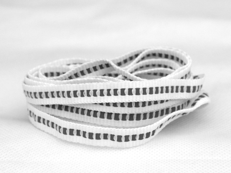 Flade Refleks Snørebånd Hvid 8mm Refleksstribe