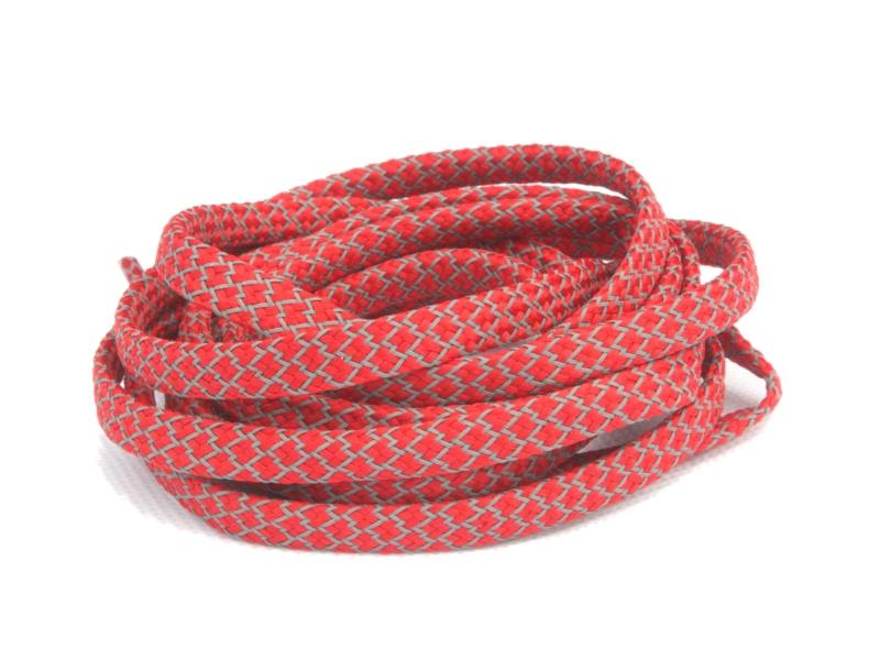 Flade Refleks Snørebånd Røde 8mm mønster