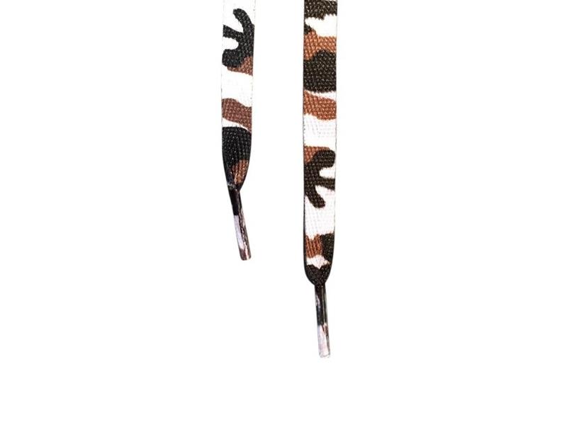Flade snørebånd - 10mm - hvid camouflage