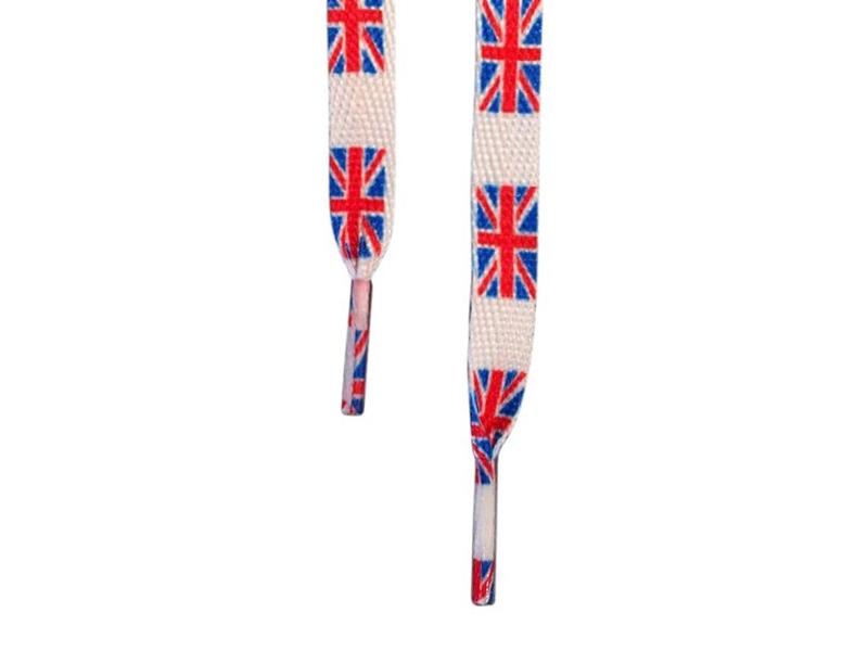Flade snørebånd 12mm - Hvid m. Britisk Flag