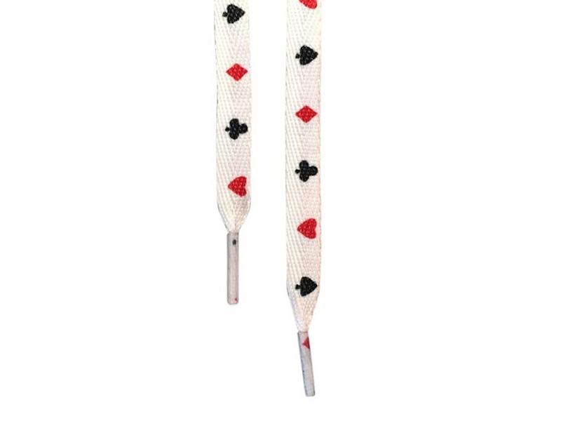 Flade snørebånd 12mm - hvide med poker motiv
