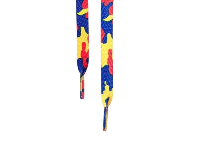 Flade snørebånd 12mm mønstrede Gul, blå og rød