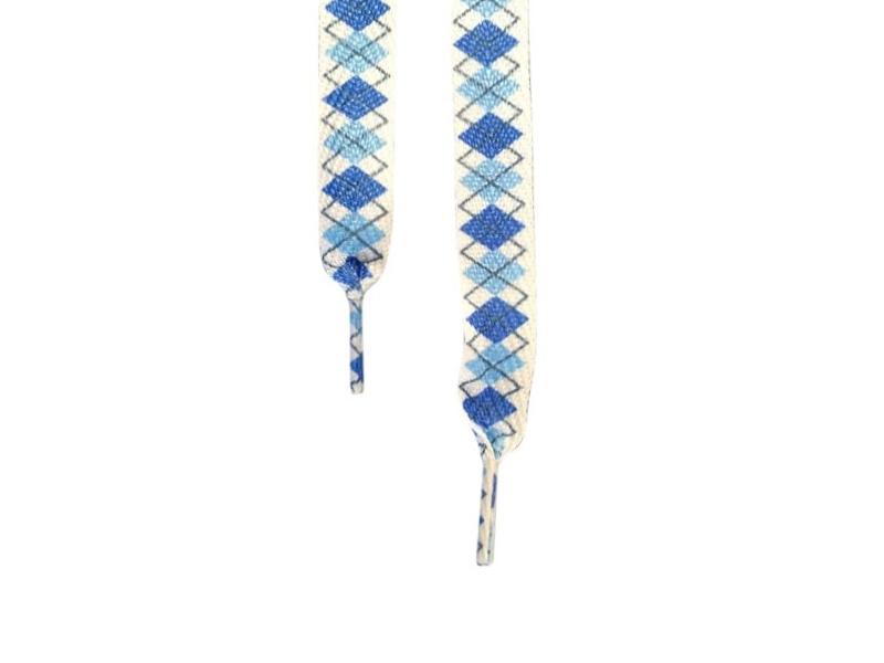 Flade snørebånd 14mm - Hvide og blå