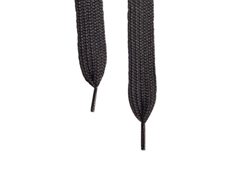 Flade snørebånd - 20mm Super brede Sort