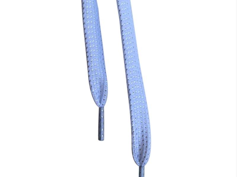 Flade snørebånd 8mm glitter effekt hvid