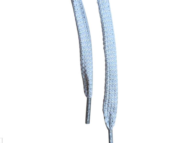 Flade snørebånd 8mm glitter sølv/grå