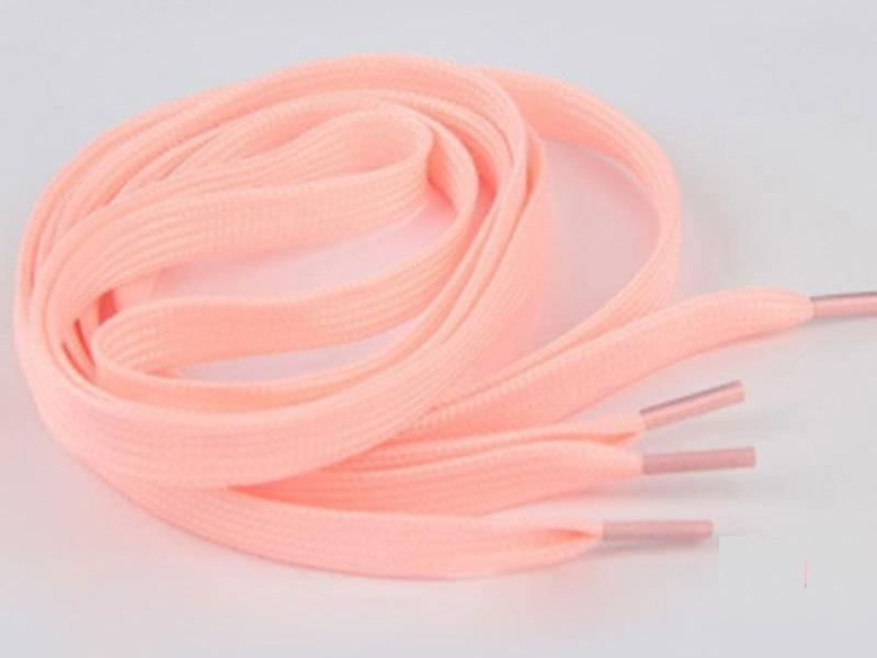 Flade snørebånd - 8mm selvlysende lyserød/pink