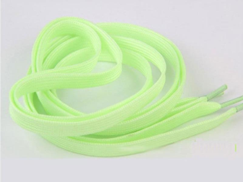 Flade snørebånd - 8mm selvlysende neon grøn