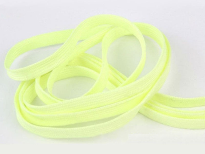 Flade snørebånd - 8mm selvlysende neon gul