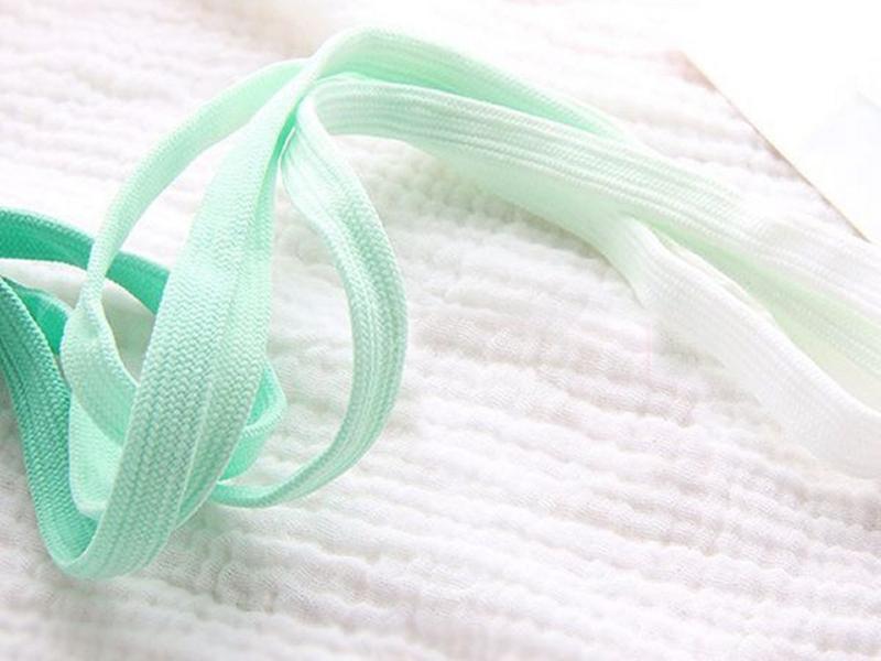 Grøn-hvid gradient snørebånd 120cm 8mm bred