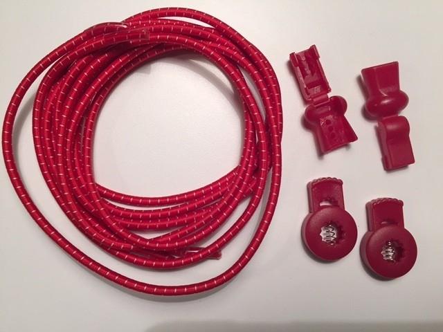 Lock laces iRun® - elastik snørebånd one size Rød m/hvid