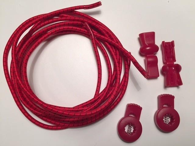Lock laces iRun® - elastik snørebånd one size Rød m/sort