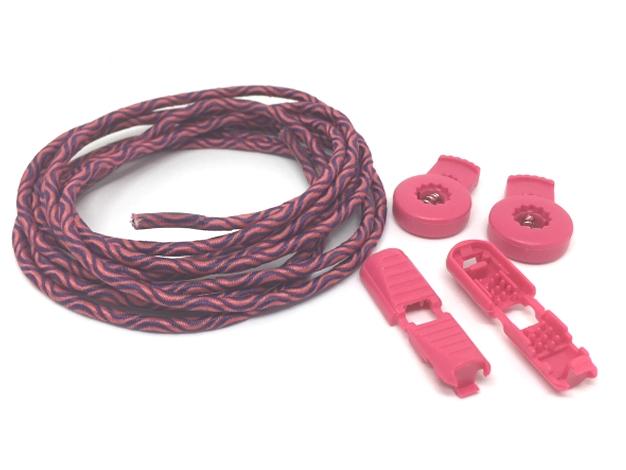 Lock laces iRun - elastik snørebånd one size Pink/sort Wave