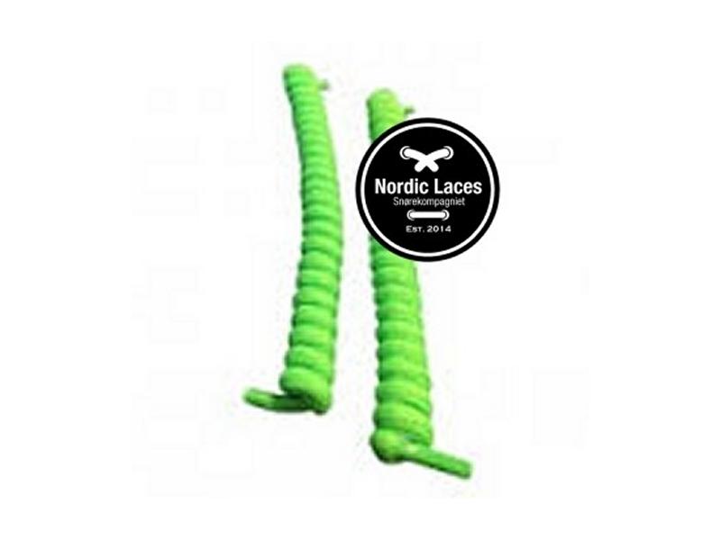 Neon grønne spiral snørebånd 12cm (100-105cm) elastik