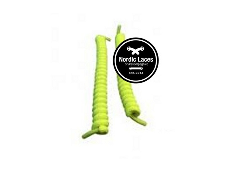 Neon gul spiral snørebånd 12cm (100-105cm) elastik