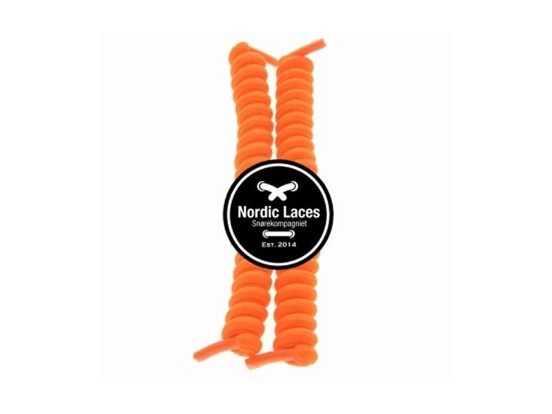 Orange spiral snørebånd 12cm (100-105cm) elastik