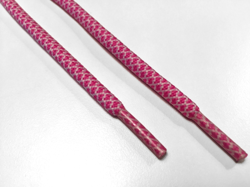 Rope laces - Yeezy -  130cm 5mm - Pink m/hvid