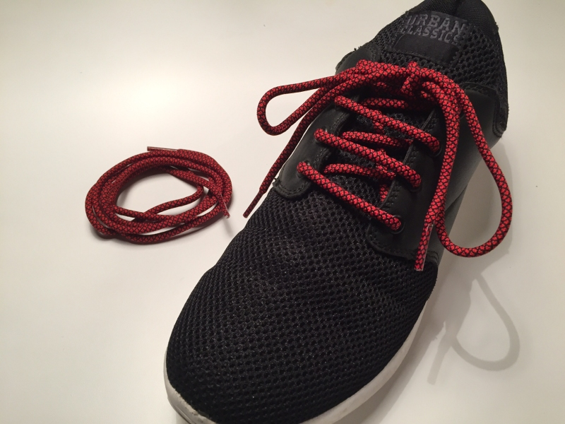 Rope laces - Yeezy -  130cm 5mm - Rød m/sort