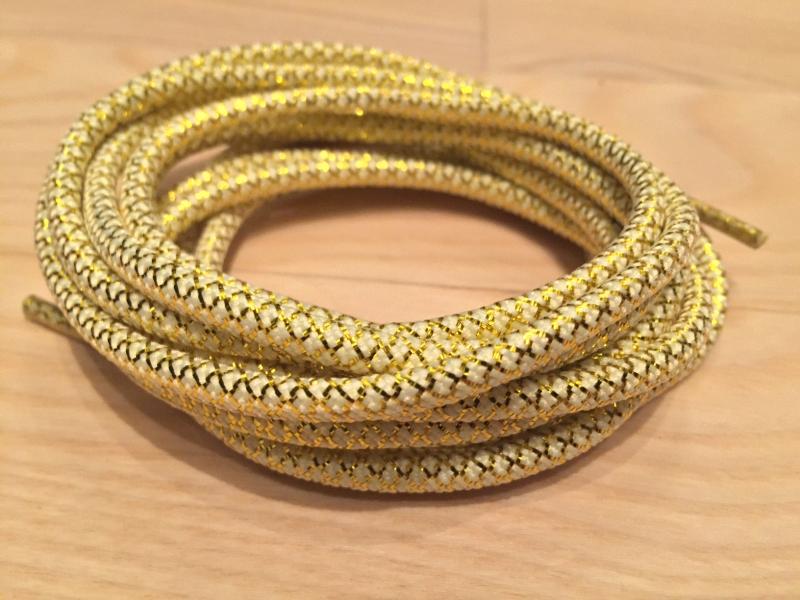 Runde snørebånd 130cm 5mm - Guld m/hvid