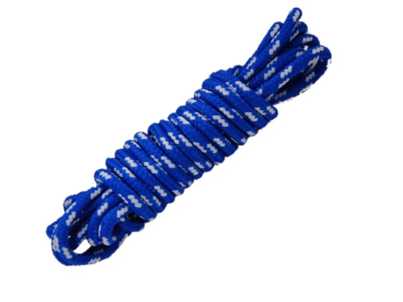 Runde snørebånd til støvler 4mm - blå m/hvide prikker