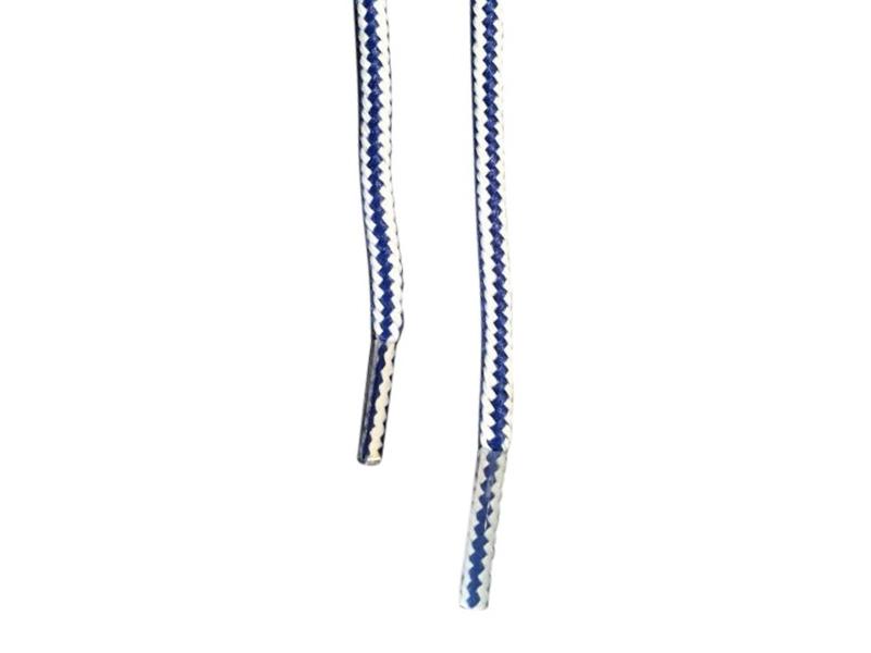Runde snørebånd til støvler 4mm - blå og hvid stribede