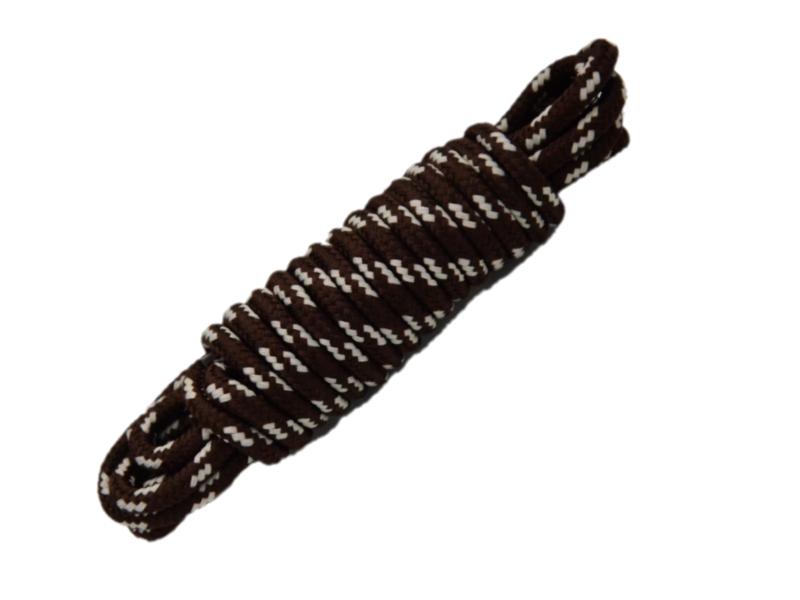Runde snørebånd til støvler 4mm - brun m/hvide prikker