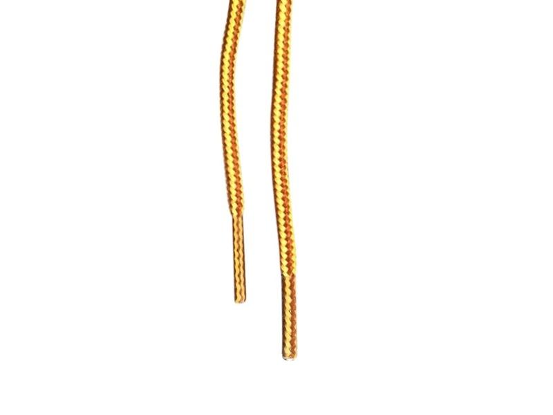 Runde snørebånd til støvler 4mm - gule og brune stribede