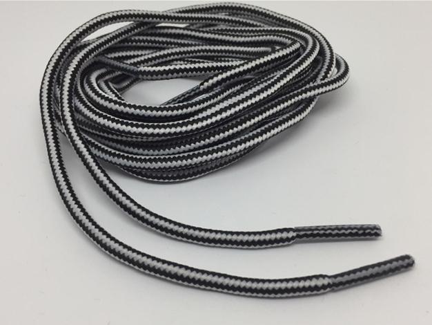 Runde snørebånd til støvler 4mm - hvide og sort stribede