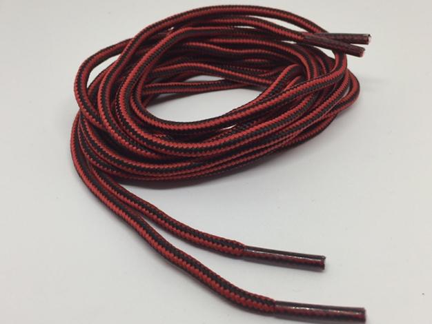 Runde snørebånd til støvler 4mm - røde og sort stribede