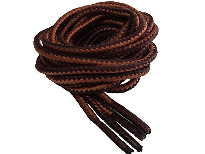 Runde snørebånd til støvler 4mm - sort og brun stribede