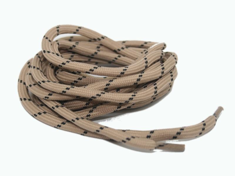 Runde snørebånd til støvler - beige m/sorte prikker