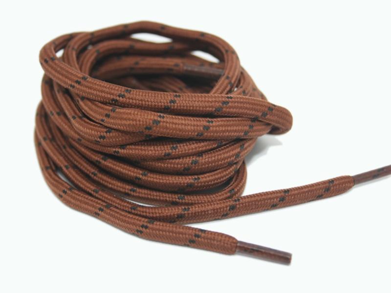 Runde snørebånd til støvler - brun m/sort prikker